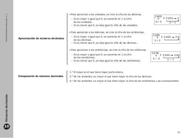 21 ©2009SantillanaEducación,S.L.Númerosdecimales 10 Aproximación de números decimales Comparación de números decimales Par...