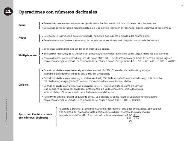 ©2009SantillanaEducación,S.L. 22 Operaciones con números decimales11 Suma Resta Multiplicación División Aproximación del c...