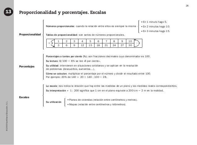 ©2009SantillanaEducación,S.L. 26 Proporcionalidad y porcentajes. Escalas13 Proporcionalidad Porcentajes Escalas Números pr...