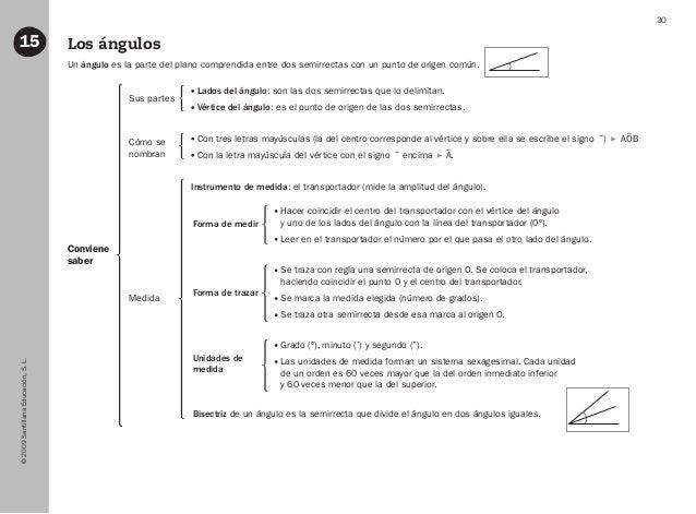 ©2009SantillanaEducación,S.L. 30 Los ángulos15 Conviene saber Un ángulo es la parte del plano comprendida entre dos semirr...
