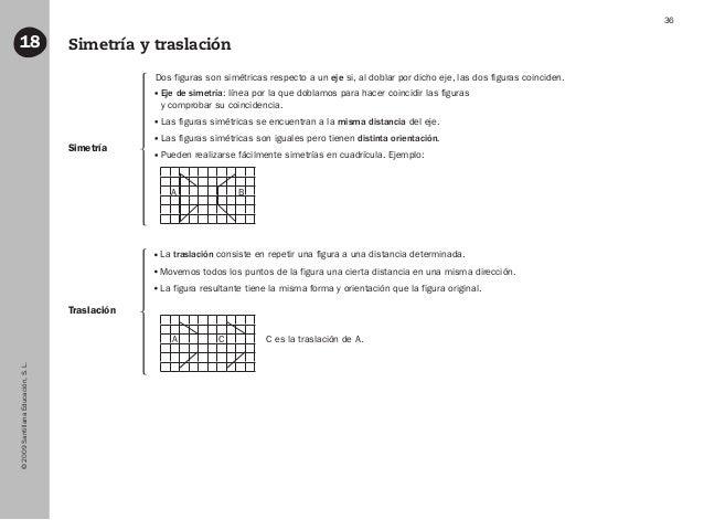 ©2009SantillanaEducación,S.L. 36 Simetría y traslación18 Traslación Simetría Dos figuras son simétricas respecto a un eje ...