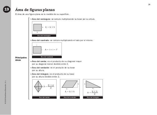 ©2009SantillanaEducación,S.L. 38 Área de figuras planas19 Principales áreas El área de una figura plana es la medida de su...