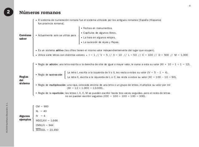 ©2009SantillanaEducación,S.L. 4 Números romanos2 Conviene saber Algunos ejemplos Reglas del sistema El sistema de numerac...