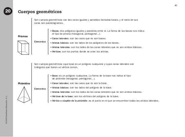 ©2009SantillanaEducación,S.L. 40 Cuerpos geométricos20 Prismas Pirámides Son cuerpos geométricos con dos caras iguales y p...