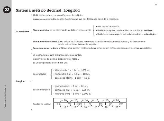 ©2009SantillanaEducación,S.L. 44 Sistema métrico decimal. Longitud22 La medición Longitud Medir: es hacer una comparación ...