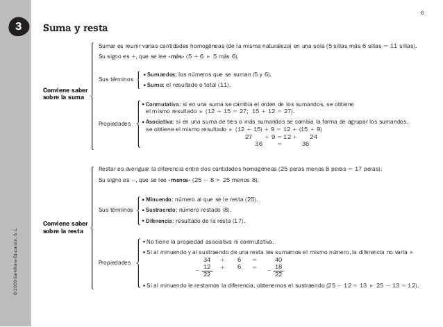 ©2009SantillanaEducación,S.L. 6 Suma y resta3 Conviene saber sobre la suma Conviene saber sobre la resta Sumar es reunir v...