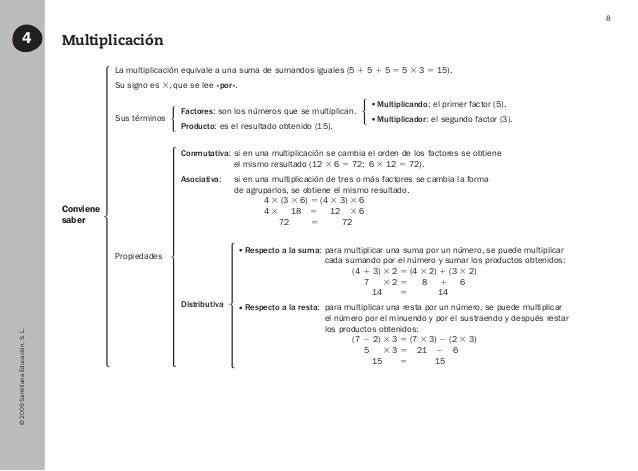 ©2009SantillanaEducación,S.L. 8 Multiplicación4 Sus términos Distributiva Propiedades Factores: son los números que se mul...