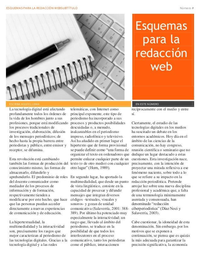 ESQUEMAS PARA LA REDACCIÓN WEBSUBTÍTULO Número # Esquemas para la redacción web Fecha de emisión ESCRIBA AQUÍ EL LEMA EN E...