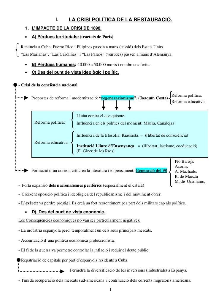 I.      LA CRISI POLÍTICA DE LA RESTAURACIÓ.   1. L'IMPACTE DE LA CRISI DE 1898.   •   A) Pèrdues territorials: (tractats ...
