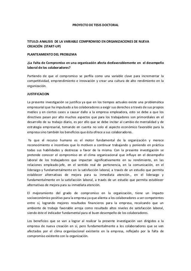 PROYECTO DE TESIS DOCTORAL TITULO: ANALISIS DE LA VARIABLE COMPROMISO EN ORGANIZACIONES DE NUEVA CREACIÓN (START-UP) PLANT...