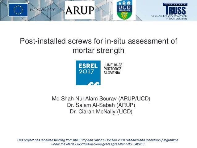 Md Shah Nur Alam Sourav (ARUP/UCD) Dr. Salam Al-Sabah (ARUP) Dr. Ciaran McNally (UCD) Post-installed screws for in-situ as...