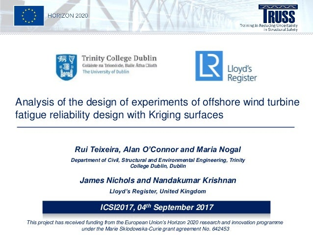 Analysis of the design of experiments of offshore wind turbine fatigue reliability design with Kriging surfaces Rui Teixei...