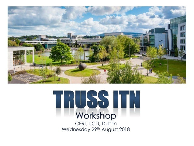 Workshop CERI, UCD, Dublin Wednesday 29th August 2018