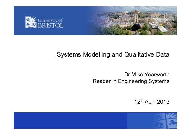 Systems Modelling and Qualitative DataDr Mike YearworthReader in Engineering Systems12th April 2013