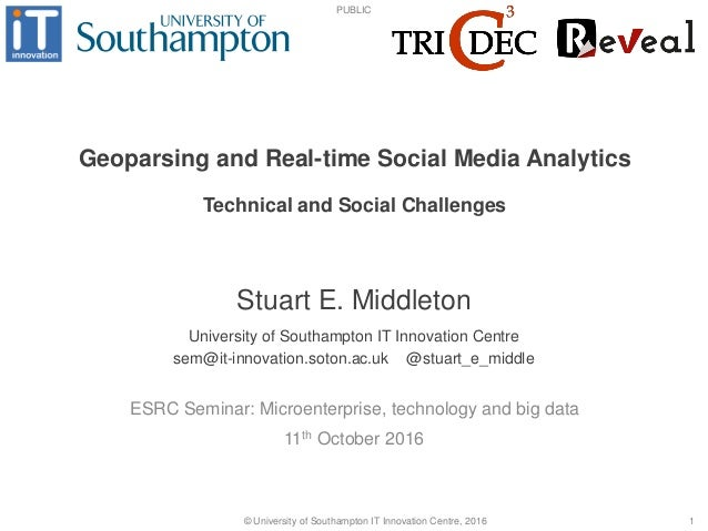 PUBLIC © University of Southampton IT Innovation Centre, 2016 1 Geoparsing and Real-time Social Media Analytics 11th Octob...