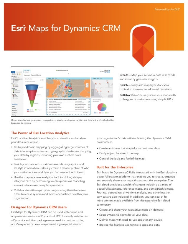 Powered by ArcGIS®  Esri Maps for Dynamics CRM ®  ®  Create—Map your business data in seconds and instantly gain new insig...