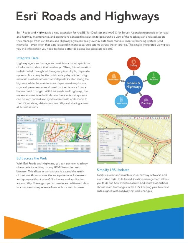 Esri Roads and Highways ®  Esri Roads and Highways is a new extension for ArcGIS for Desktop and ArcGIS for Server. Agenci...