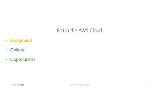 Esri in the AWS Cloud • Background • Options • Opportunities 1Esri in the AWS CloudHP (MAR 2016)