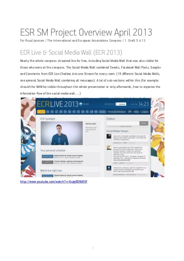 ESR SM Project Overview April 2013For Ruud Janssen / The International and European Associations Congress / 1. Draft 5.4.1...