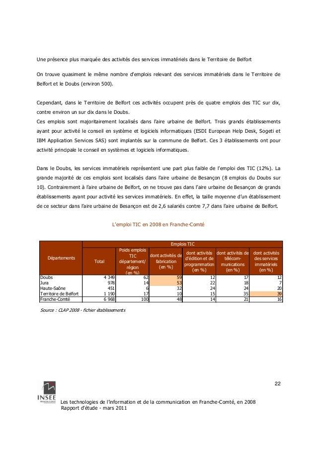 Départements  Les technologies de l'information et de la communication en Franche-Comté, en 2008  Rapport d'étude - mars 2...