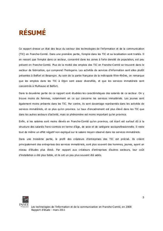 Les technologies de l'information et de la communication en Franche-Comté, en 2008  Rapport d'étude - mars 2011  3  RÉSUMÉ...