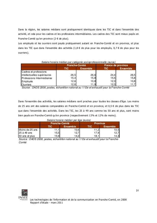 Dans la région, les salaires médians sont pratiquement identiques dans les TIC et dans l'ensemble des  activité, et cela p...