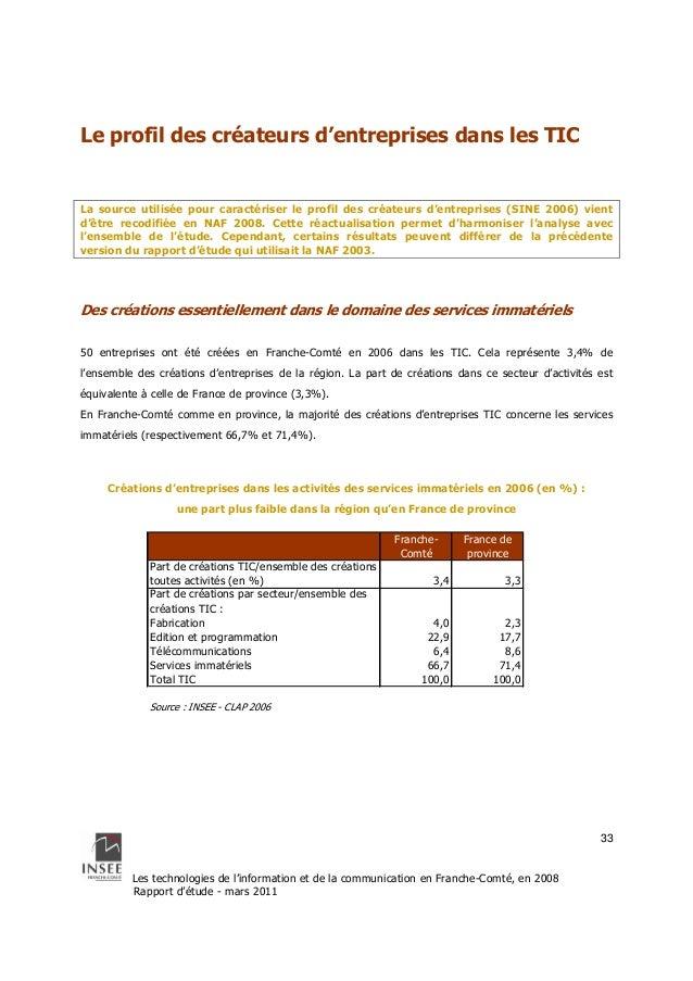Les technologies de l'information et de la communication en Franche-Comté, en 2008  Rapport d'étude - mars 2011  33  Le pr...