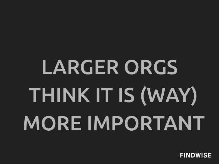 LARGER ORGSTHINK IT IS (WAY)MORE IMPORTANT