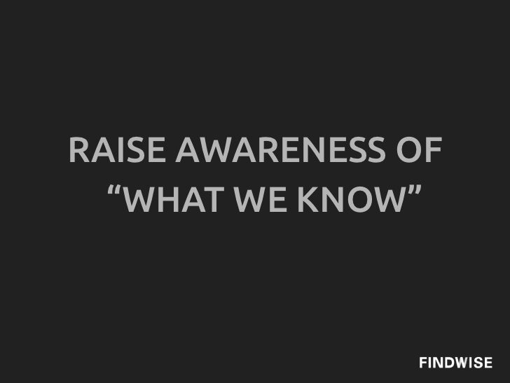 """RAISE AWARENESS OF  """"WHAT WE KNOW"""""""