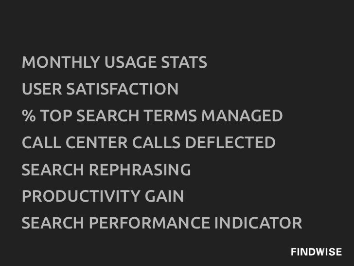 MONTHLY USAGE STATSUSER SATISFACTION% TOP SEARCH TERMS MANAGEDCALL CENTER CALLS DEFLECTEDSEARCH REPHRASINGPRODUCTIVITY GAI...