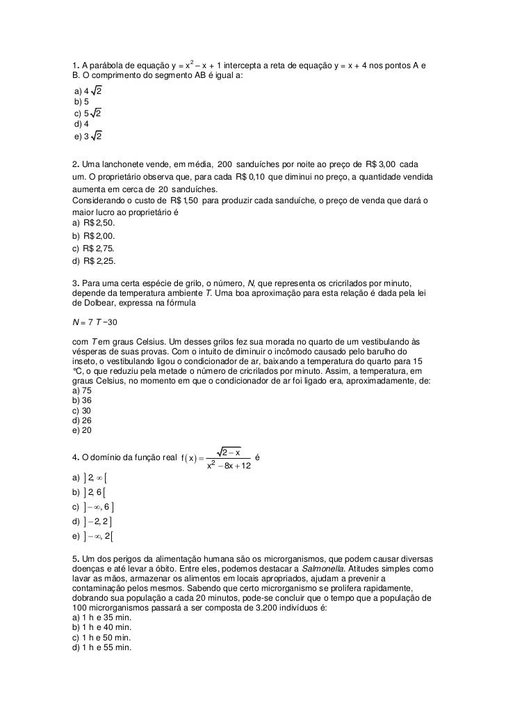 21. A parábola de equação y = x – x + 1 intercepta a reta de equação y = x + 4 nos pontos A eB. O comprimento do segmento ...