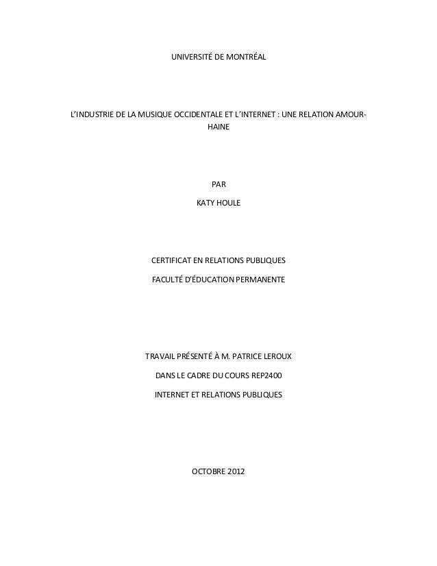 UNIVERSITÉ DE MONTRÉALL'INDUSTRIE DE LA MUSIQUE OCCIDENTALE ET L'INTERNET : UNE RELATION AMOUR-                           ...