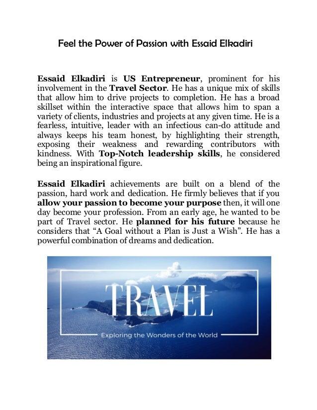 Essaid Elkadiri Dedicated to Travel Business