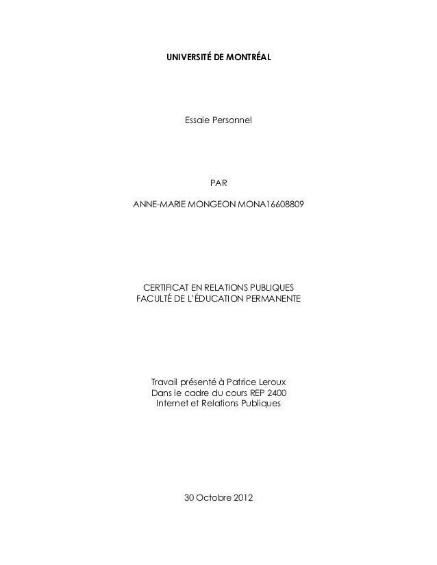 UNIVERSITÉ DE MONTRÉAL           Essaie Personnel                 PARANNE-MARIE MONGEON MONA16608809 CERTIFICAT EN RELATIO...
