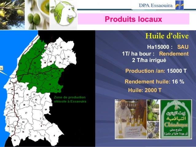 Huile d'olive SAU:15000Ha Rendement:1T/ ha bour 2 T/ha irrigué Production /an: 15000 T Rendement huile: 16 % Huile: 2000 T...