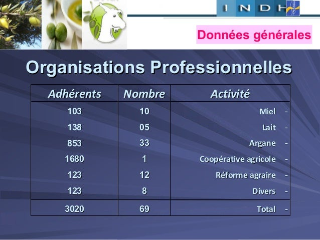 Organisations ProfessionnellesOrganisations Professionnelles ActivitActivitééNombreNombreAdhAdhéérentsrents --MielMiel --L...