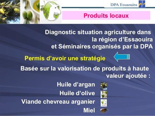 Produits locaux Diagnostic situation agriculture dans la région d'Essaouira et Séminaires organisés par la DPA Permis d'av...