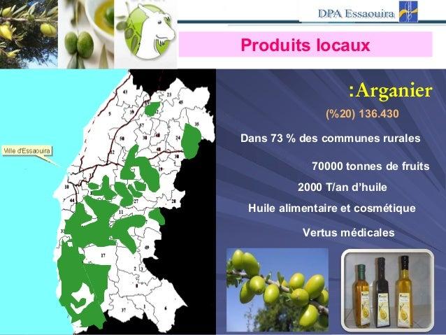 Dans 73 % des communes rurales Arganier: (% 136.430)20 70000 tonnes de fruits 2000 T/an d'huile Produits locaux Huile alim...