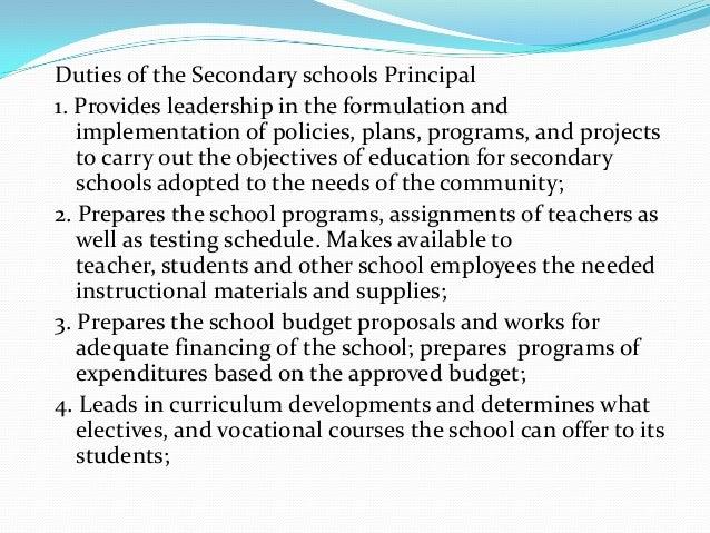 Essay on school principal