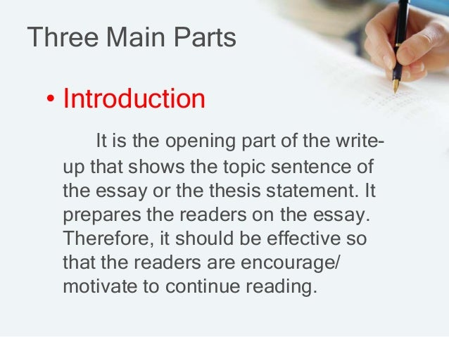 main parts to an essay