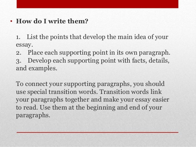 Supporting points of an essay