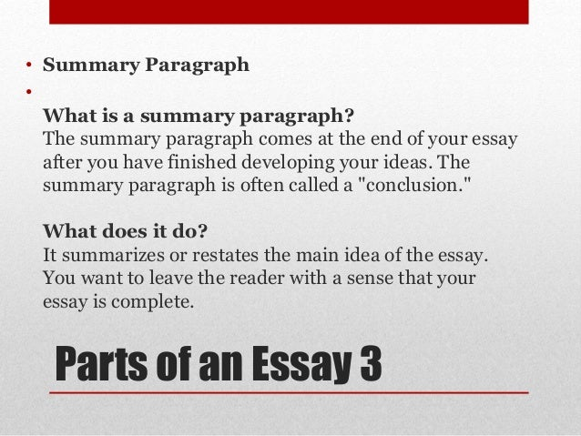 give the different parts of essay There's rules to follow for each different type of essay,  take a look at these four types of essays and remind yourself of what  include all the parts of.