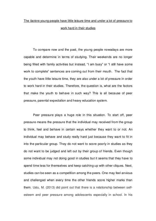 essay  themselebes 3 the factors young people have little leisure time