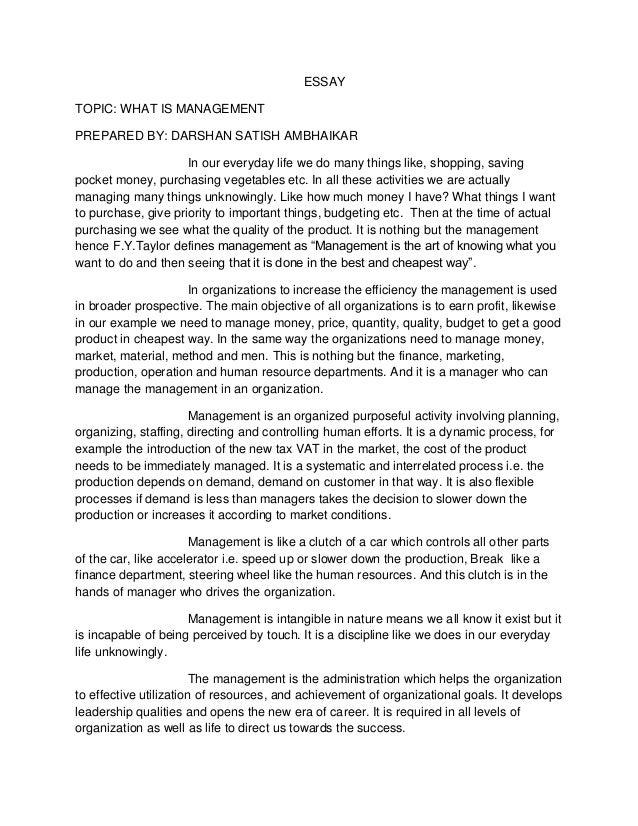 organization essay examples