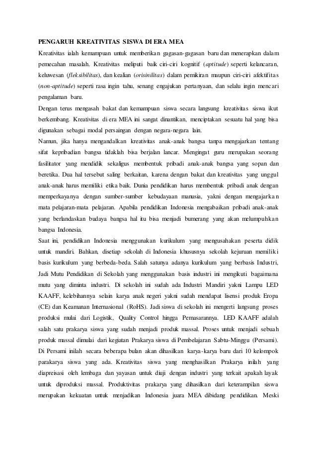 contoh essay pengaruh mea terhadap pendidikan indonesia