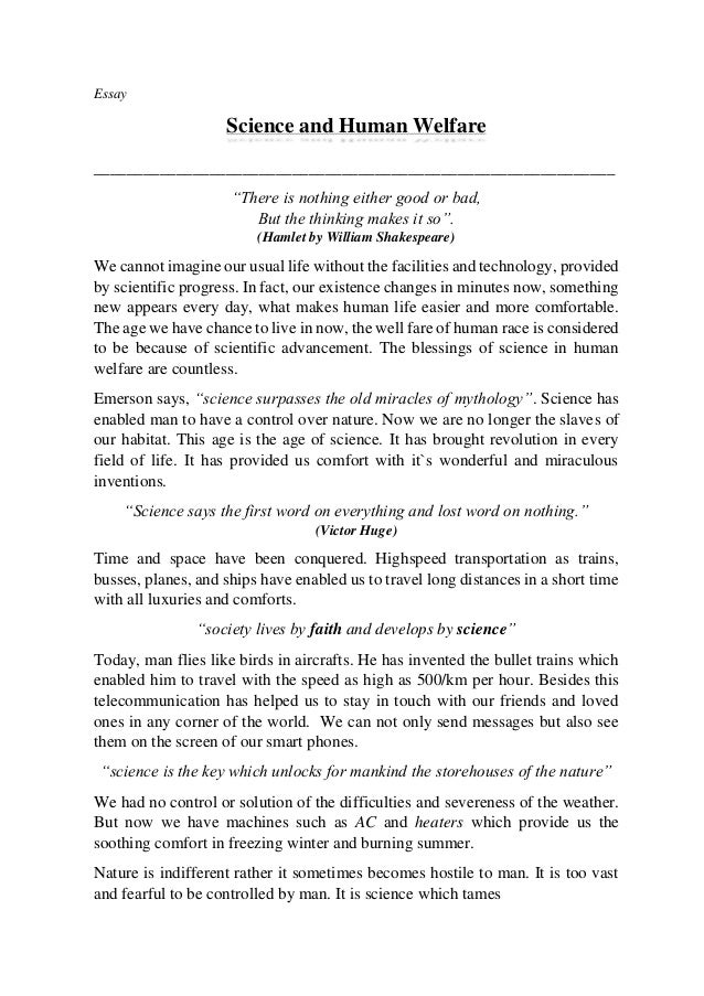 Essay science in the service of humanity