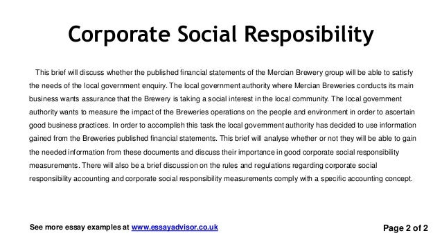 Essay Advisor - Essay Example on Corporate Social Responsibility