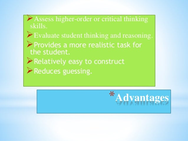 disadvantages of essay assessments There are three basic categories of rubrics for performance assessment:  each category has advantages, disadvantages,  including assessments of essays, oral.