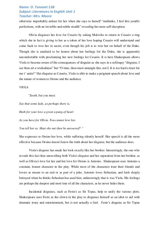 twelfth night essay example When viola first meets duke orsino, dressed as cesario, she is convinced and hopes to win the duke's heart over viola expresses her true feelings for orsino the first time she meets him.