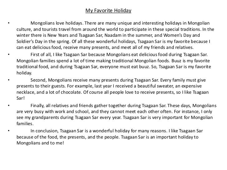 My favourite holiday essay
